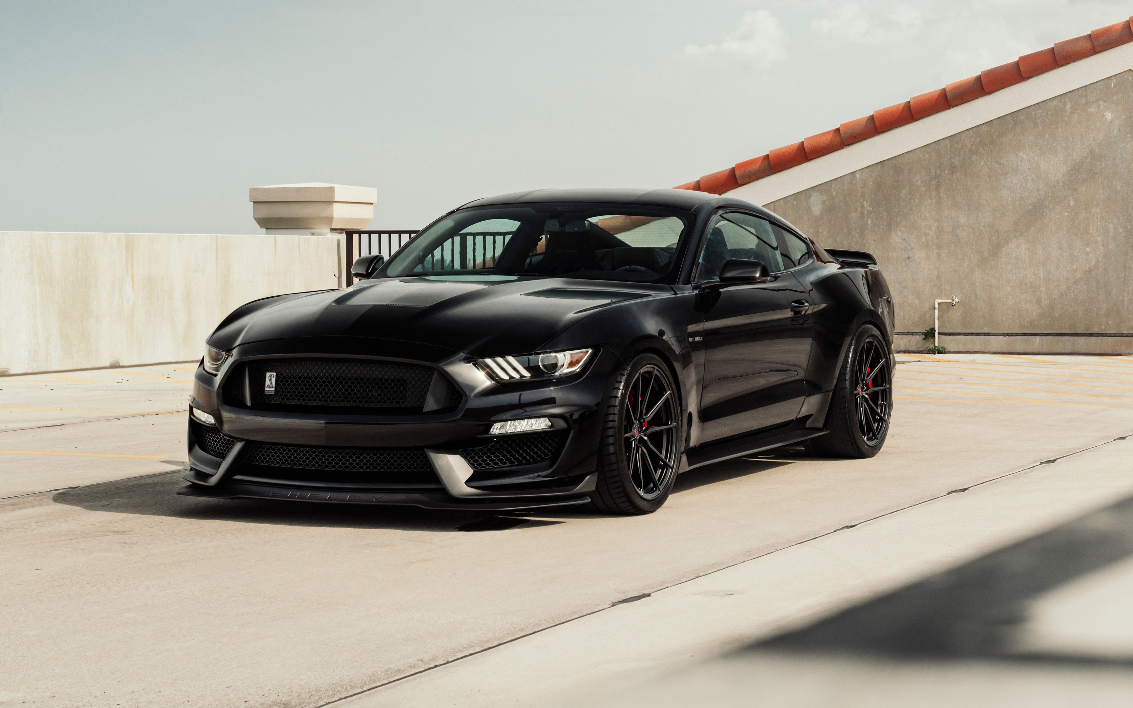 Ford mustang 2018 black sports coupe luxurious tuning mustang