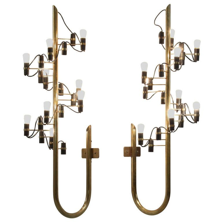 Gino Sarfatti Early and Original '226' Wall Appliques, Arteluce, Italy, 1950s | From a unique collection of antique and modern wall lights and sconces at https://www.1stdibs.com/furniture/lighting/sconces-wall-lights/