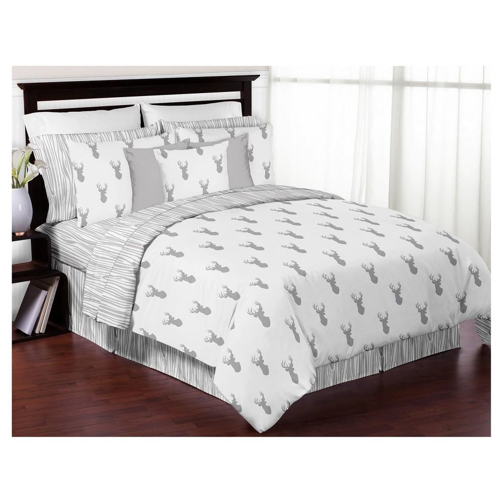 Gray & White Woodland Deer Comforter Set (Full/Queen
