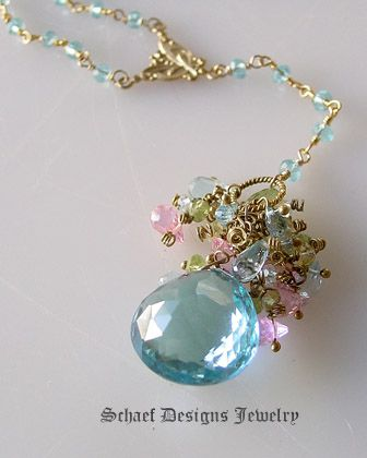 Large 25 Ct Blue Topaz briolette, peridot, yeloow and blue topaz, & pink CZ Monet rosary style necklace with 24kt gold vermeil & blue topaz ...