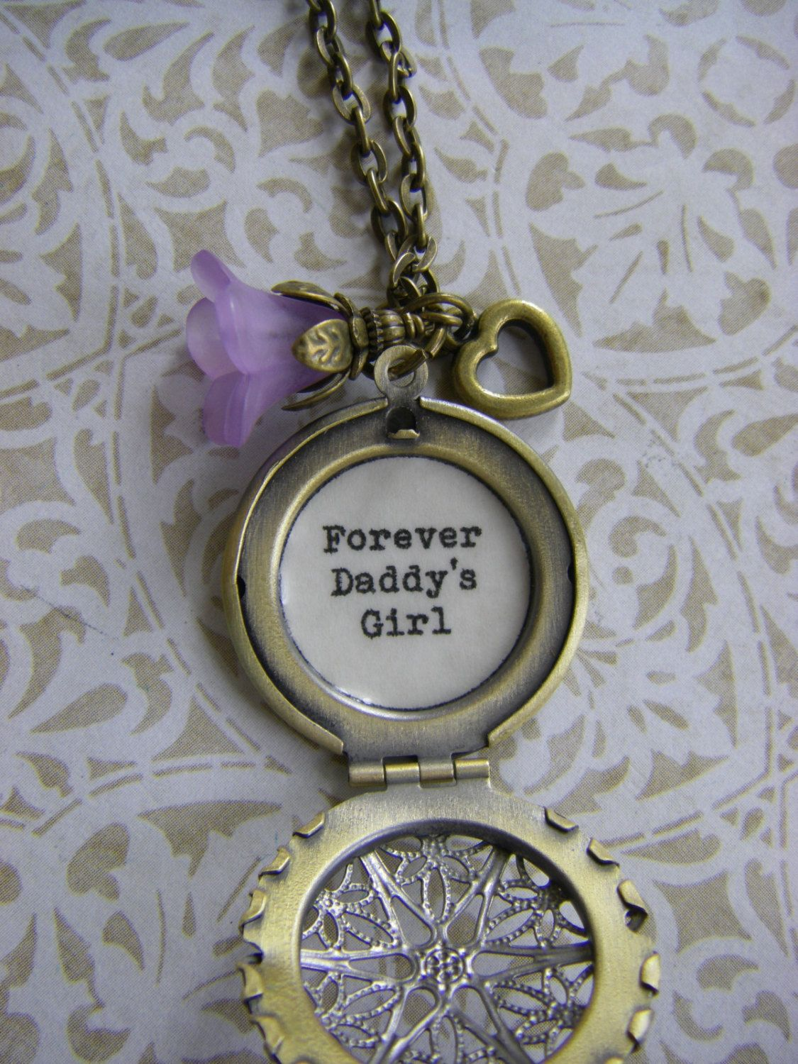 Gifts For Dad From Daughter Part - 32: Forever Daddyu0027s Girl Locket Necklace Father Daughter Gift Father Bride Dad  Daughter Dance Purple Flower Heart