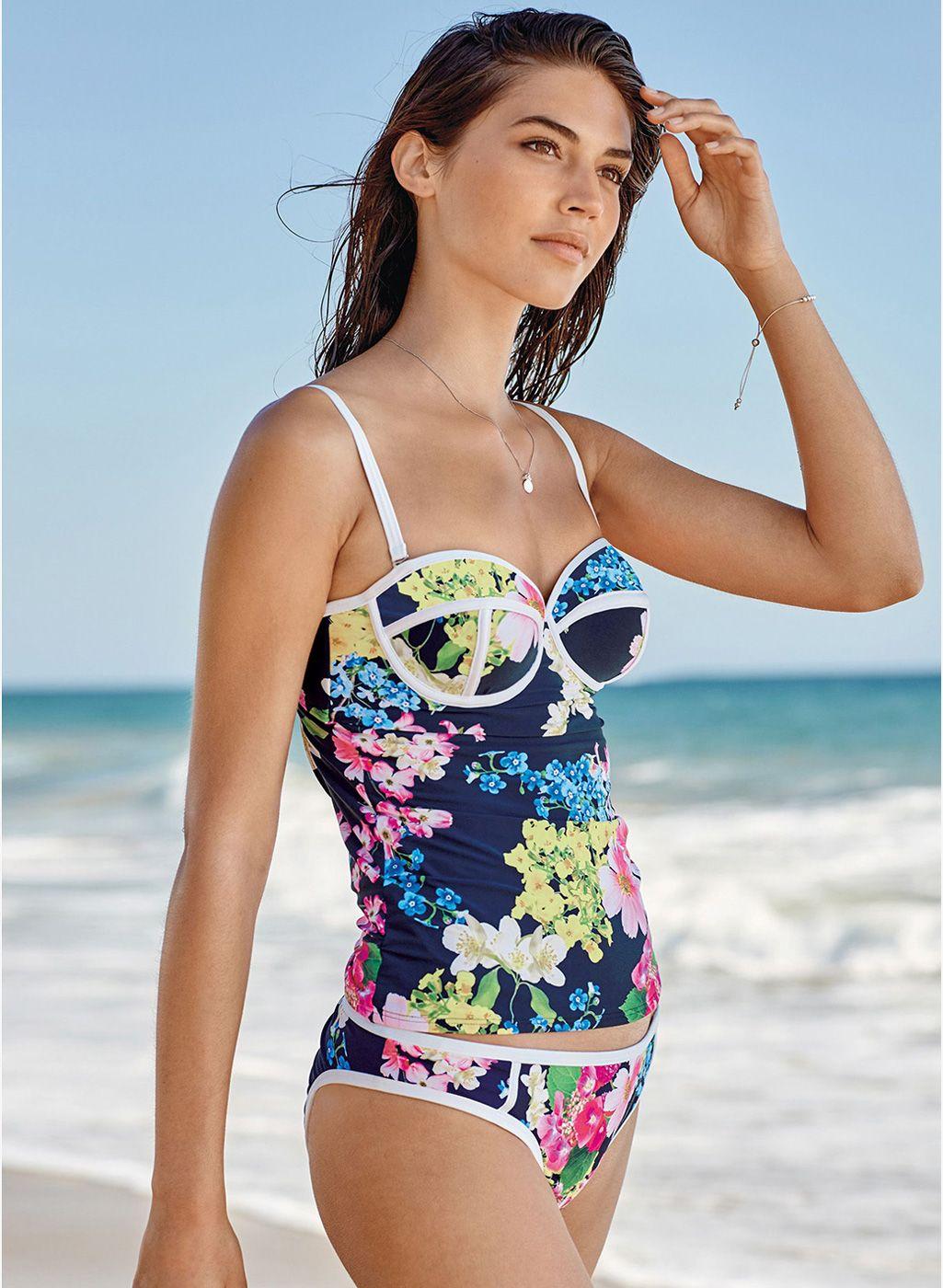 4f3c34d33b0aa Next Navy Blue Floral Print Tankini Top #Blue #Printed #Tankini #Beachwear