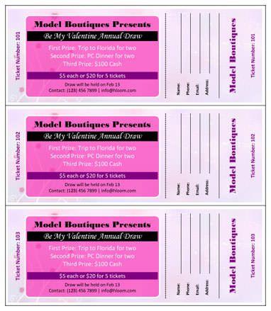 Be-my-Valentine-Annual-Draw RaffleTix Pinterest Ticket - microsoft word ticket templates