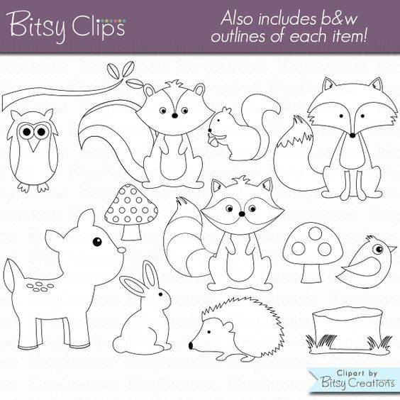 Woodland Animals Clipart Commercial Use WITH Black And White Outlines