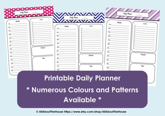Printable Daily Planner - Chevron Planner Printable - Time