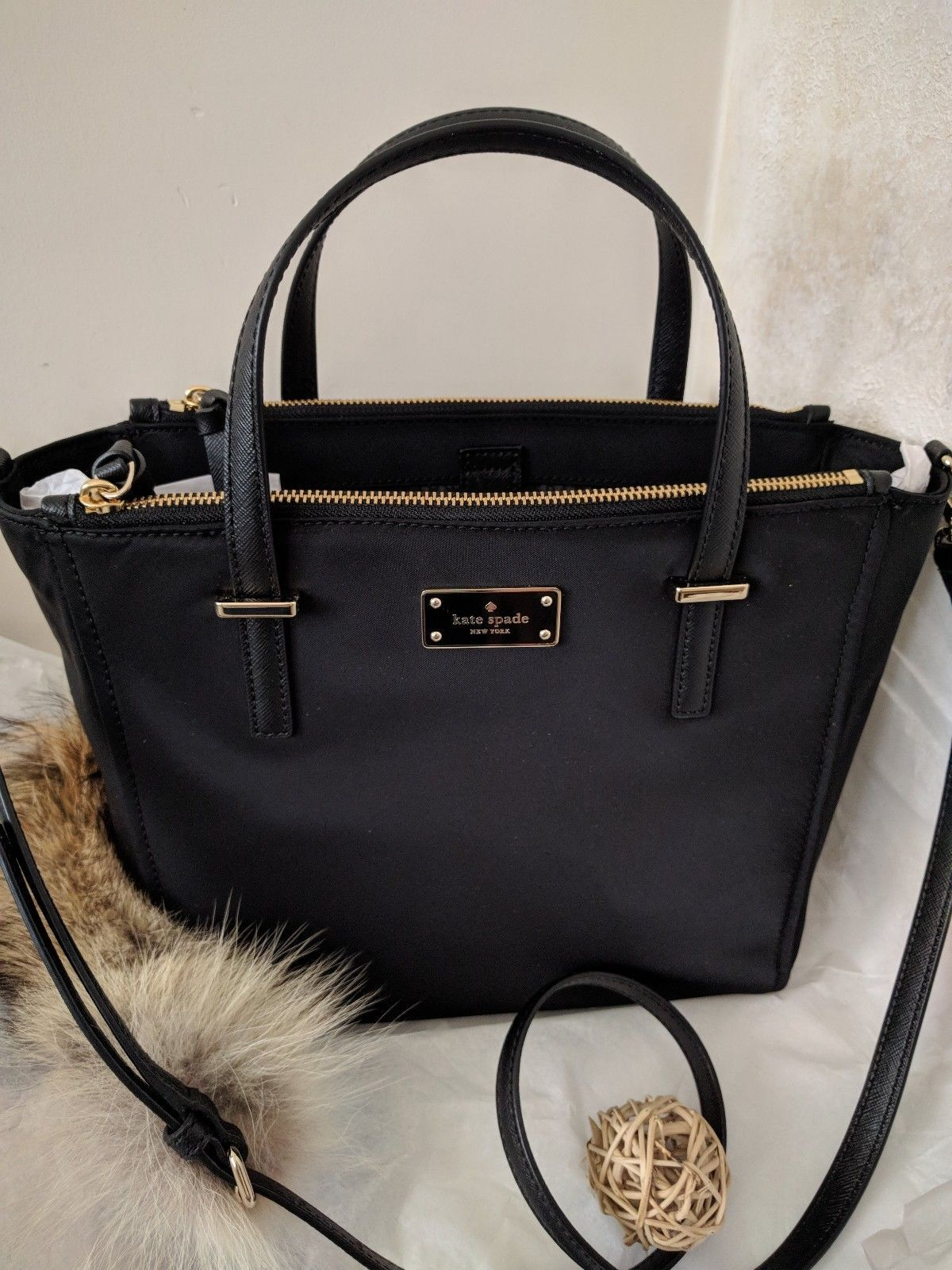 9ca731d86ed53 NWT KATE SPADE ALYSE WILSON ROAD BLACK NYLON MED TOTE Crossbody  4MOM