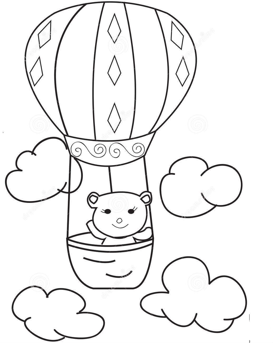 Hot Air Balloons With A Bear Coloring Pages For Kids 1d Printable Hot Air Balloons Coloring Pages For Kids