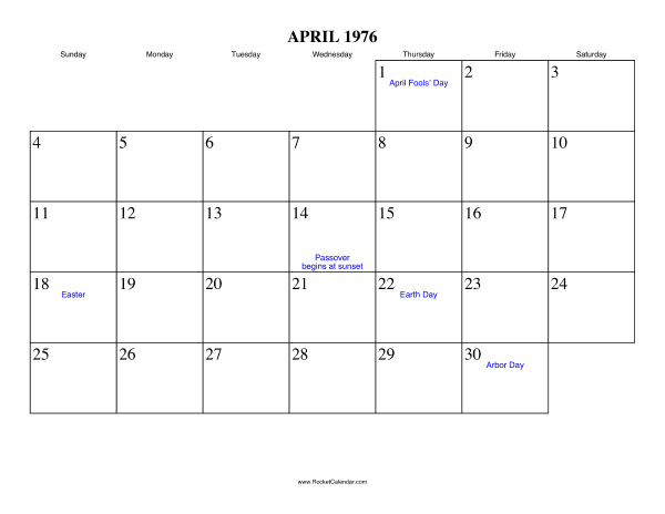 Free Printable Calendar For April 1976 View Online Or Print In Pdf