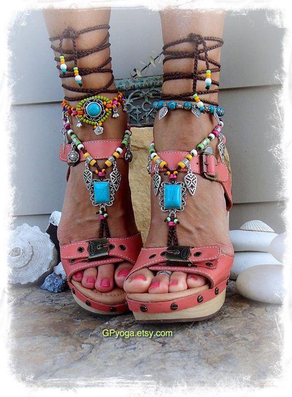 a1ce438f66445 Sandalia de fiesta sandalias Boho descalzo turquesa por GPyoga ...