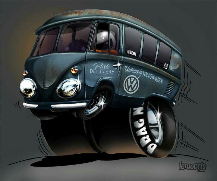 Vw Bug Drag Motor: Drag Bus Toon. #vw #cartoon #volkswagen