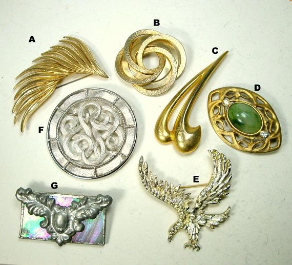 Lot of 7 Vintage Wearable Pins Unusual Mix of Brooches 1960s