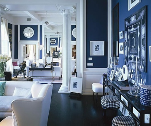 Cobalt Room With White Trim Farrow Ball Drawing Blue