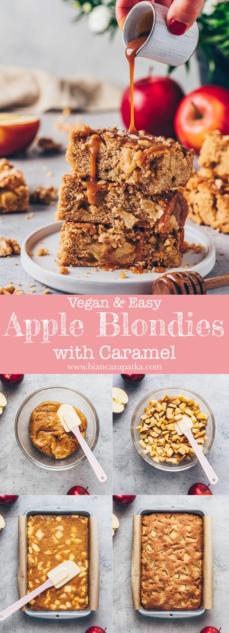 Apple Blondies with Caramel | Vegan Apple Bars - Bianca Zapatka | Recipes #falldesserts