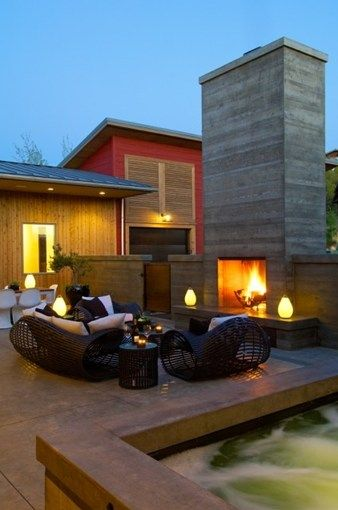 Modern Outdoor Fireplace | Outdoor Concrete Fireplace, Board Formed  Concrete FireplaceModern .