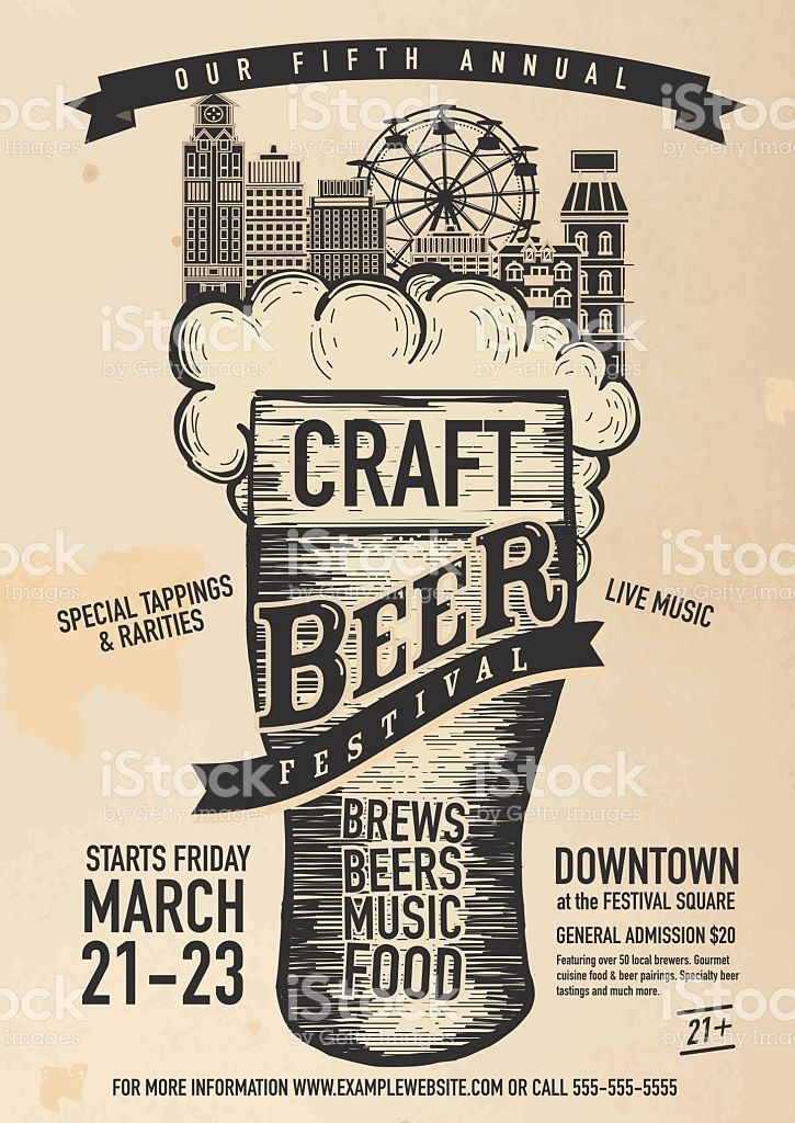Vector Illustration Of A Craft Beer Festival Poster Design Template