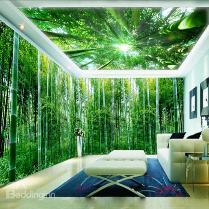 3D Green Natural Bamboo Forest Pattern Design Waterproof Self-Adhesive Ceiling and Wall Murals          - beddinginn.com