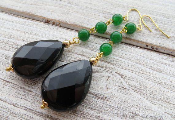 Photo of Black agate earrings, green jade earrings, drop earrings, dangle earrings, emerald jewelry, modern jewelry, stone jewelry, onyx earrings
