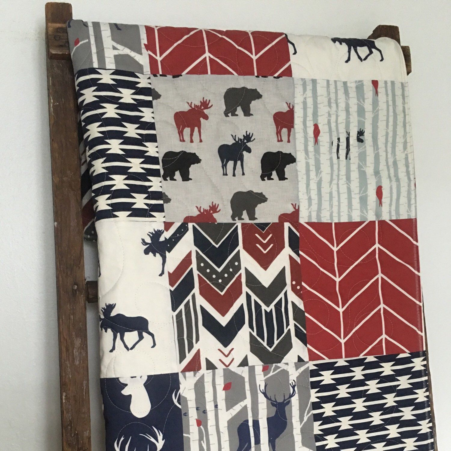 Great colors, beautiful prints!  Step out of the box and go bold with this beautiful woodland quilt...