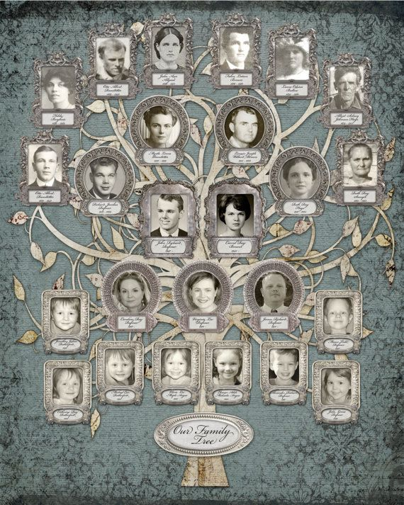 Silver Anniversary - Family Tree - Custom with 25 Photos - Blue Grey Background #grandparentphoto