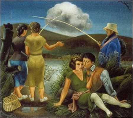 """Alfonso Ponce de León. """" Jóvenes y un pescador """", 1936. Óleo sobre lienzo. Centro de Arte Reina Sofía de Madrid."""