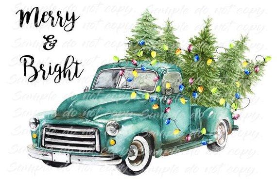 Merry Bright Blue Vintage Truck Christmas Tree Heat Press Transfer Diy Iron On Transfer Vintage Truck Christmas Vintage Truck Christmas Truck