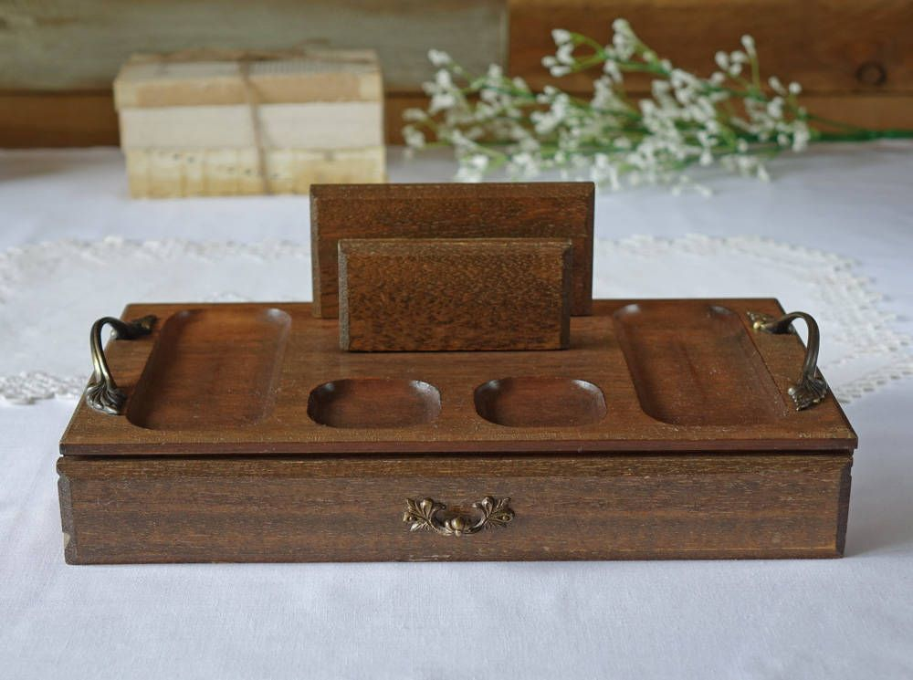 Vintage Wooden Men S Valet Tray Wood Top Cell Phone Holder Made In An Royal London By The1608 On Etsy