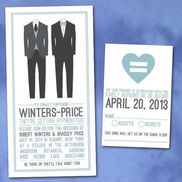 Custom Modern Groom Invitations For Gay Weddings Or Same