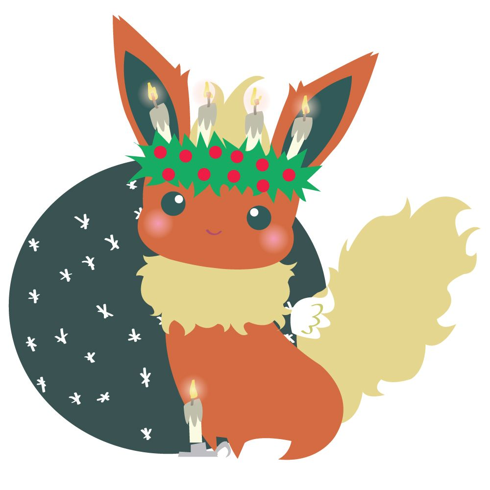 Christmas art cute kawaii eevee jolteon flareon vaporeon espeon ...