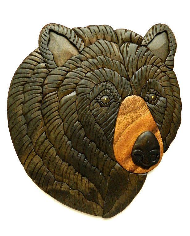 Black Bear Head II Intarsia Wood Wall Art Home Decor Plaque Western Lodge New
