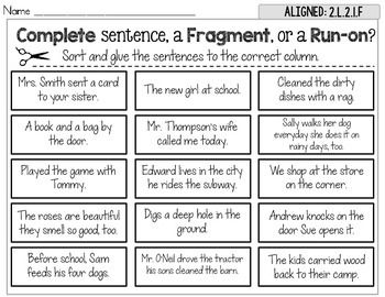 Complete, Fragment, Run-On Sentence Sort