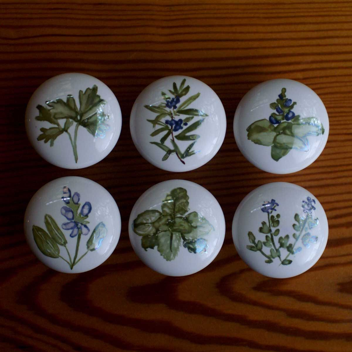 handpainted cabinet knobs herbs sage mint basil thyme and