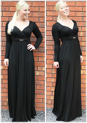 Long Black Maxi Dress Long Sleeve Party Formal Evening Cocktail Gown by MontyQ