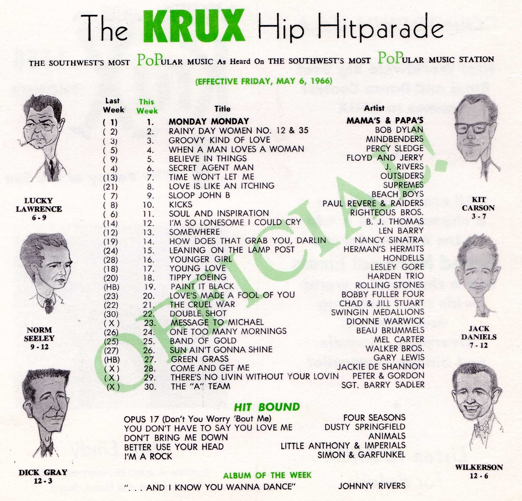 Playlist From Krux Radio Station Phoenix Arizona 1966 Music