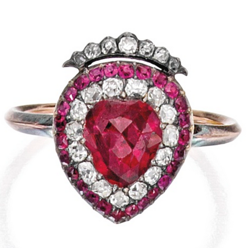 *SILVER, GOLD, RUBY AND DIAMOND RING The crowned heart centering a heart-shaped ruby measuring approximately 7.3 by 6.7 mm, framed by old mine-cut diamonds weighing approximately .35 carat, accented by round rubies, size 6; circa 1820.
