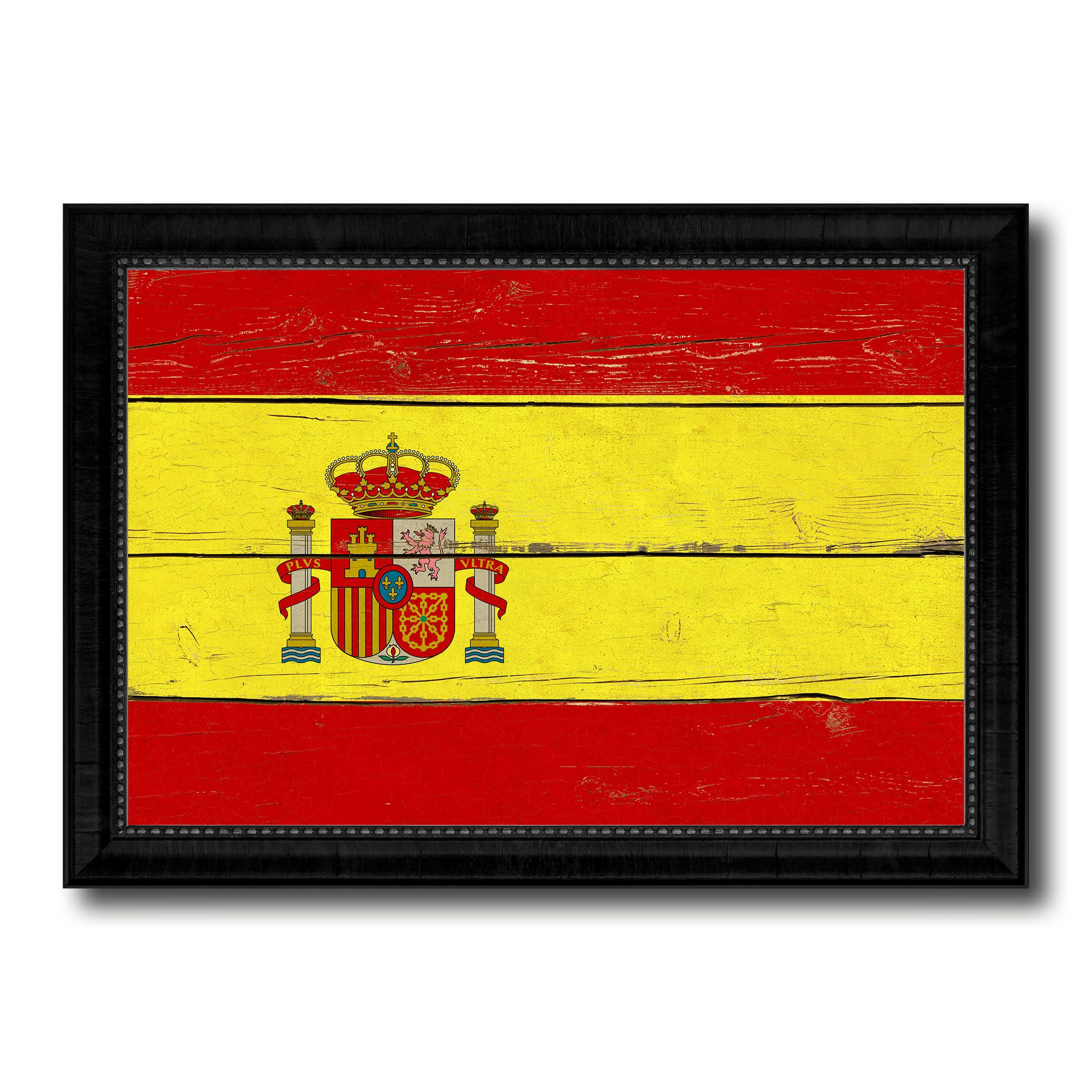 Spain Country Flag Vintage Canvas Print with Black Picture Frame ...