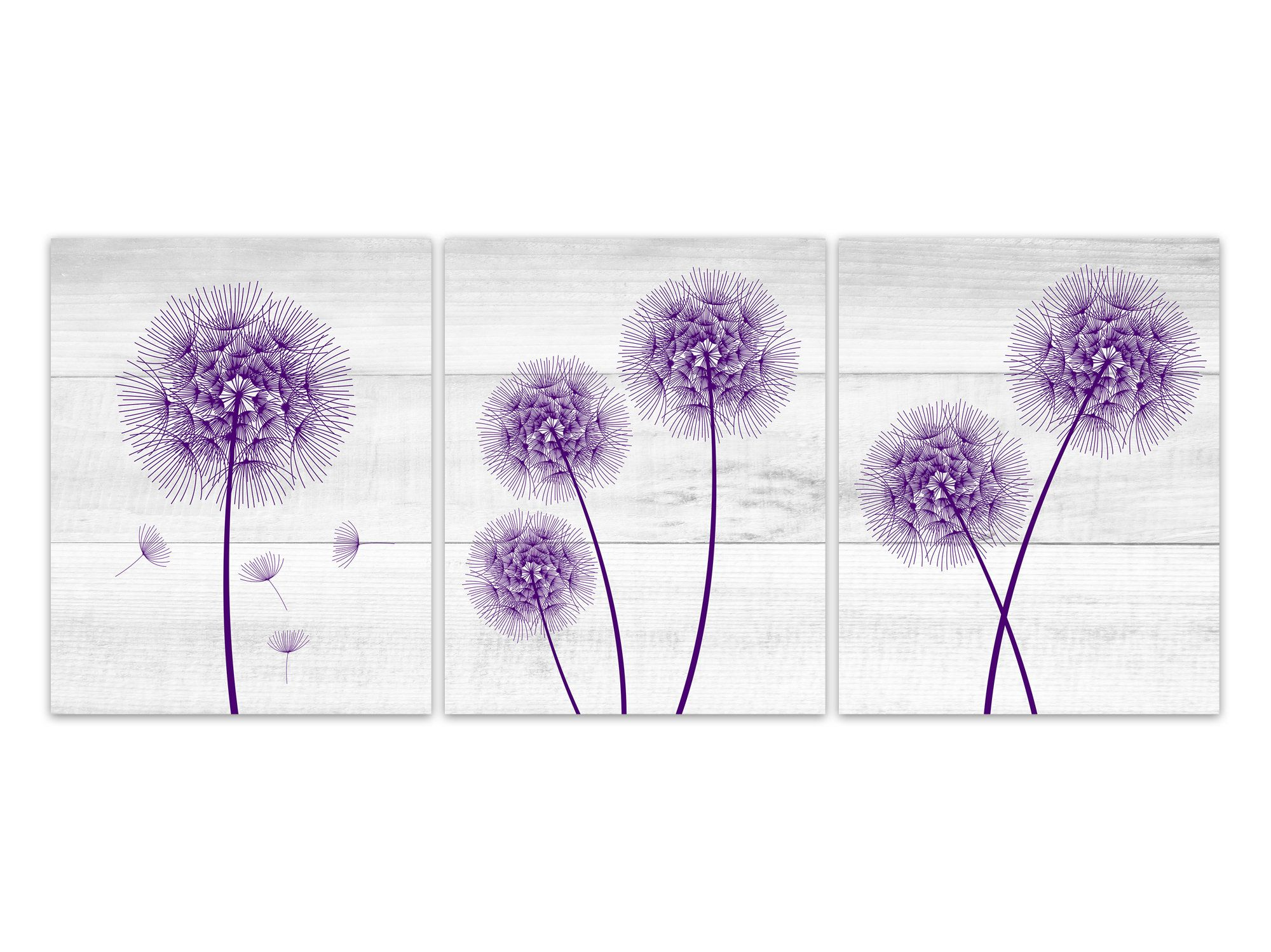 Farmhouse home decor canvas purple dandelion art