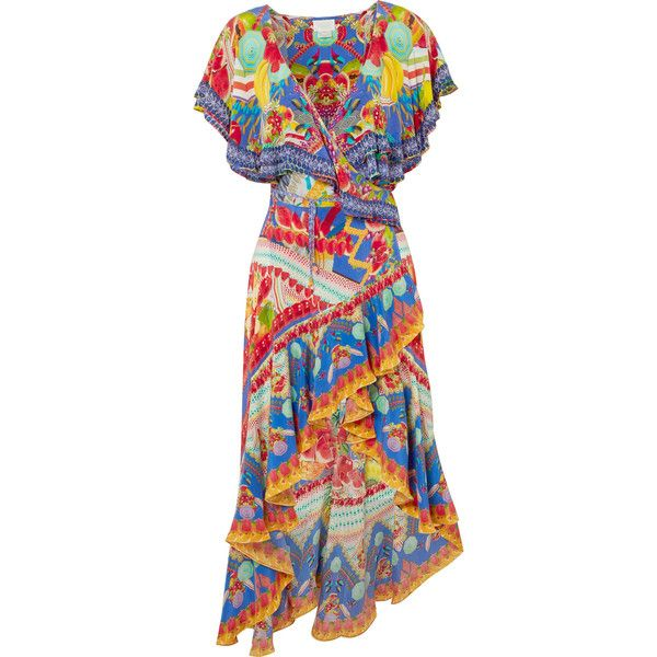 Clearance Online Rio Embellished Printed Silk Crepe De Chine Wrap Dress - Yellow Camilla Cheap Sale Low Shipping Fee Visit New 3EkGZCnJLO