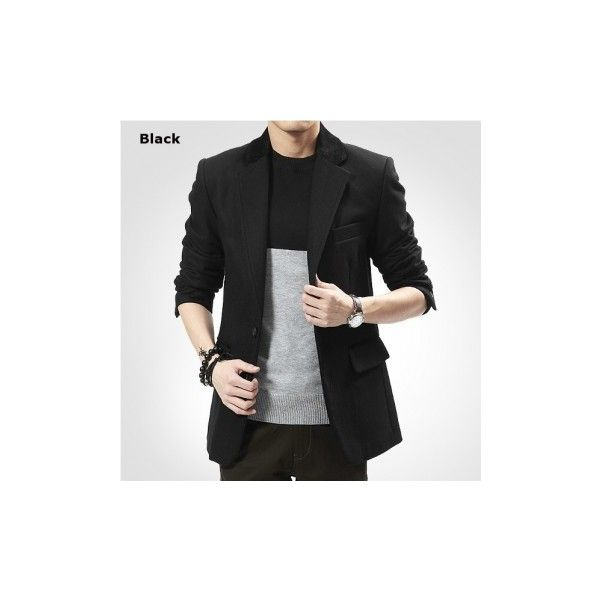 Men's Winter British style Business Casual Slim Fit Woolen Suit Coat (£34) ❤ liked on Polyvore featuring men's fashion, men's clothing, men's suits, suit & blazers, wine red, mens apparel, mens two button suits, mens wool suits, mens slim blazer and slim fit mens clothing