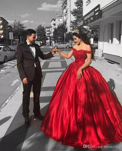Quinceanera Dresses Ball Gown 2018 Sweet 16 Dresses Appliqued Red Satin  Gowns Beads Vestidos De 15 743b385acb63