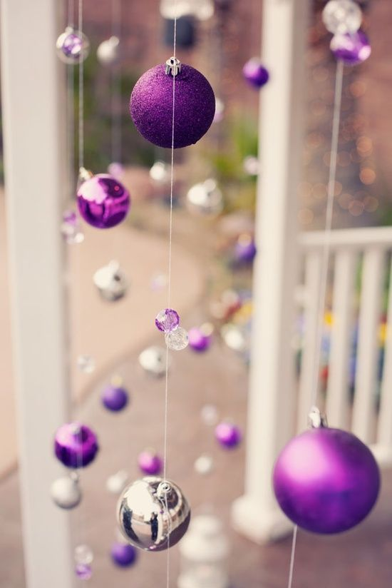 Hang Christmas Ornaments Using Fishing Line In The Window Or On The Porch Purple Christmas Christmas Decorations Christmas Ornaments