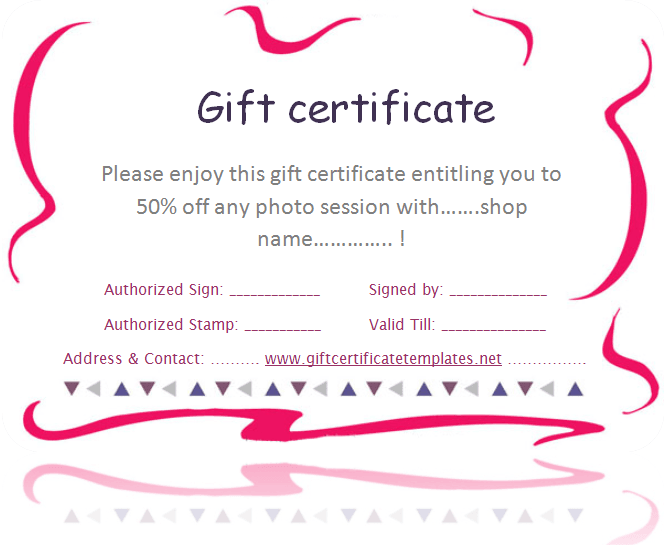 Pink Border Gift Certificate Template Beautiful Printable Gift