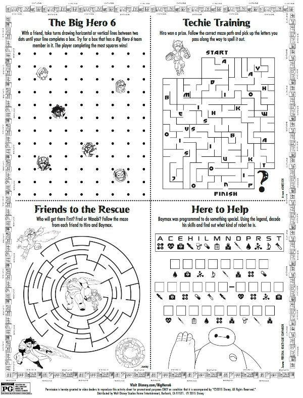 Disney Big Hero 6 Printable Activity Page | Disney | Pinterest ...