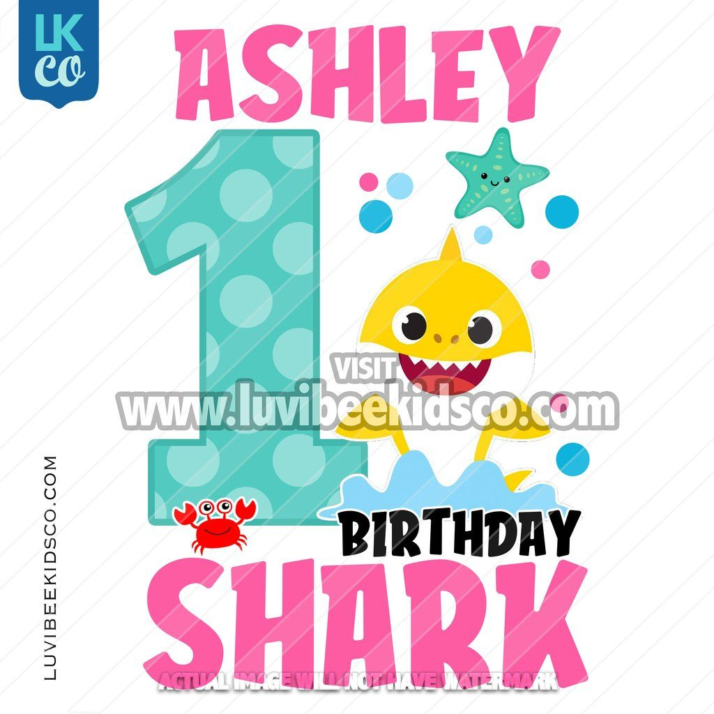 Baby shark birthday shark with name pink in 2020