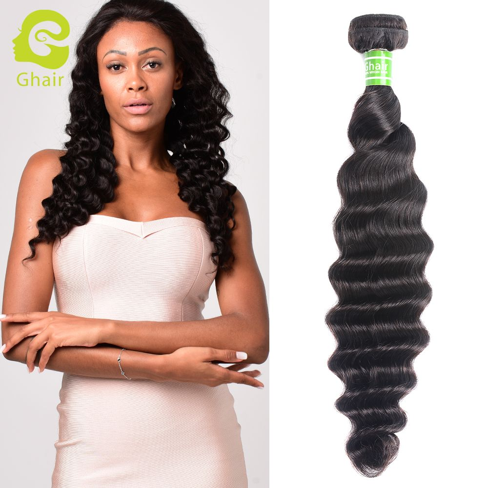 Ghair Brazilian Virgin Human Hair Weave Loose Deep Wave Bundle 1b
