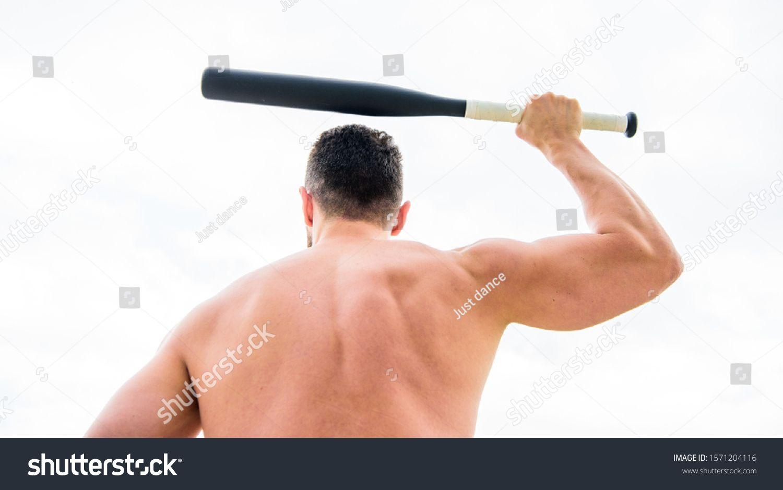 Man With Baseball Bat Hooligan Man Hits The Bat Bandit Gang And Conflict Muscular Man Fighting Full Of Energ Photo Editing Muscular Back Online Logo Design