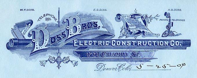 Letterhead -- Doss Brothers Electrical Construction Company   Sheaff : ephemera