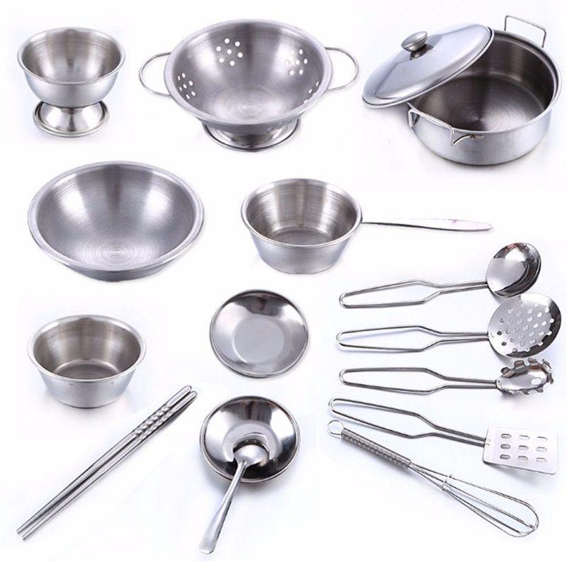 Silver Stainless Steel Kids Cookware 16 Pieces Toy Kitchen Pretend Play Kitchen Kitchen Sets For Kids