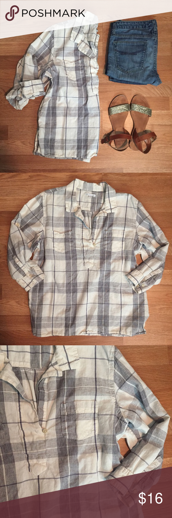 GAP linen plaid popover top sz XL. Cute! GAP linen plaid popover top. Size: XL. Length: 25.5 inches. Chest: 22 inches. Two front buttons. 3/4 length sleeves that can roll up. White color top with gray/navy plaid print. Cute! Gap Tops Button Down Shirts