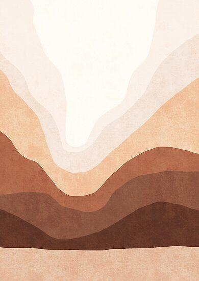 Ombre neutral mountain landscape Poster