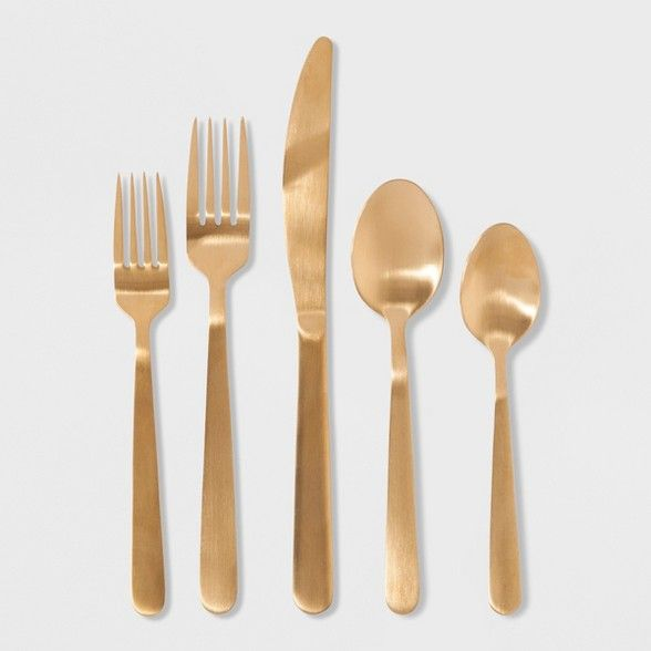 20pc Stainless Steel Silverware Set Gold Threshold Stainless Steel Silverware Silverware Set Gold Silverware
